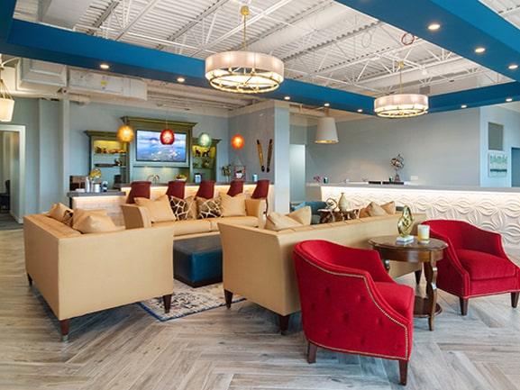 Modern, upscale lounge area