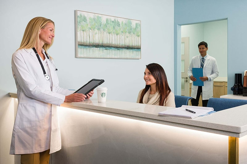 Our medical professionals desk with modern amenities